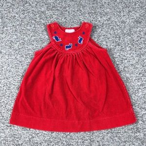 Vtg Youth Park Red Cordoury Jumper with Cats Dress